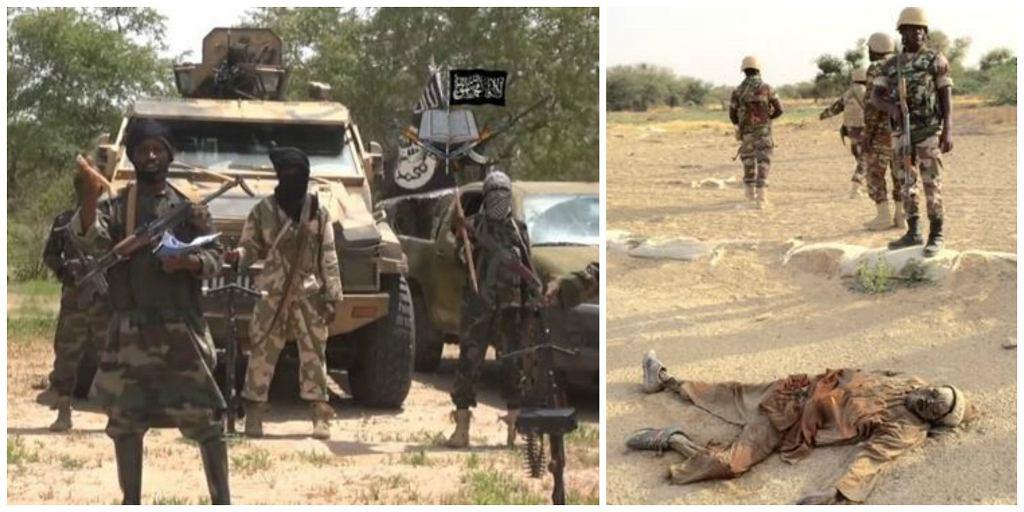 Po lewej - bojownicy Boko Haram. Po prawej - nigeryjskie wojska po ataku na obóz w Sambisie stoją nad martwym terrorystą (fot. kadr z filmu opublikowanego w Internecie przez Boko Haram / Idriss Fall / Wikimedia.org / Domena publiczna)