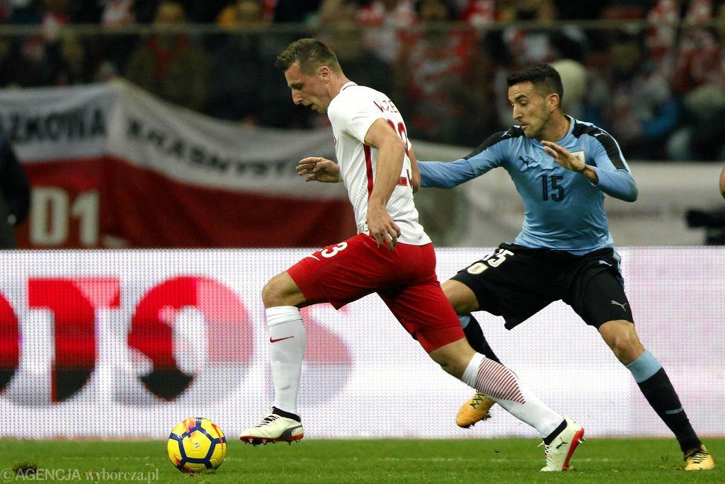 Kamil Wilczek podczas meczu towarzyskiego Polska - Urugwaj na Stadionie Narodowym. Warszawa, 10 listopada 2017