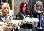 Priscilla Presley i Kim Basinger z martwymi psami na rękach. Aktorki protestowały przeciw jedzeniu psów