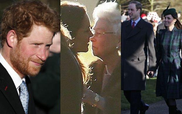 Książę Harry, księżna Kate, książę William i królowa Elżbieta