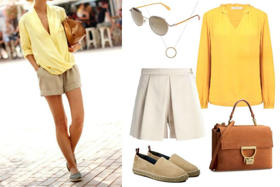 Kolaż Avanti24 / www.stylesweekly.com, autor: brak informacji / Stylizacja z szortami i żółtą bluzką
