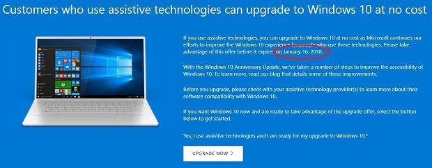Microsoft przedłuża darmową aktualizację do Windowsa 10
