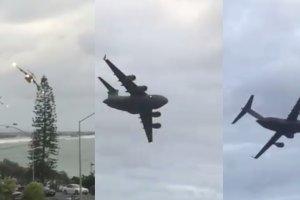 Dwa pot�ne samoloty lecia�y 90 m nad ziemi�. Australijczyk nagra� je z okna