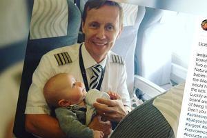 Pasażerka samolotu nie dawała sobie rady z czwórką dzieci. Ale od czego jest pilot