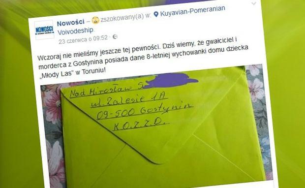 Pedofil z Gostynina dostał dane 8-latki z domu dziecka. Wysłał jej kartkę i prezenty