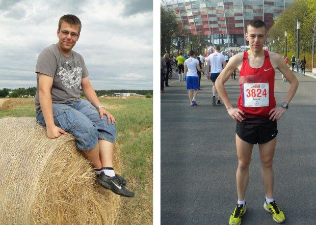 Z lewej Damian Kuźmicki, kiedy ważył ponad 100 kg. Z prawej po dwuletniej metamorfozie (69 kg), gotowy do bicia rekordy życiowego w maratonie