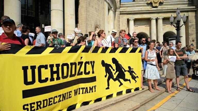 Manifestacja poparcia dla przyjęcia uchodźców