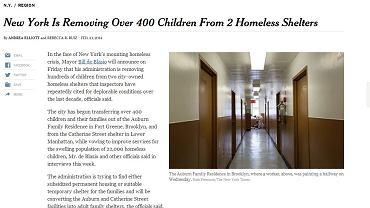Artykuł, który opublikował New York Times. Na zdjęciu - ośrodek Auburn Family Residence