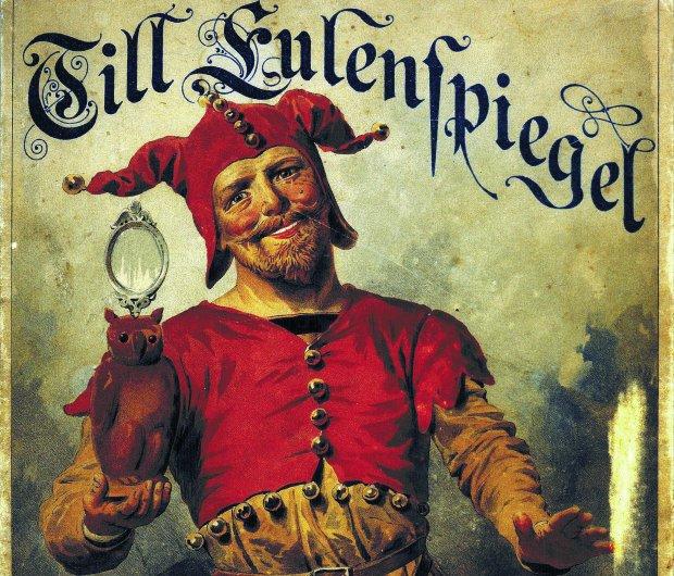 Dyl Sowizdrzał na kolorowej litografii autorstwa Eugena Klimscha z 1885 r. Na głowie błazeńska czapka, w ręce sowa i zwierciadło. W Niemczech Dyl nazywa się Till Eulenspiegel, czyli 'sowie zwierciadło' (od 'eulen' - 'sowi' - i 'Spiegel' - 'zwierciadło').