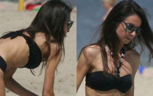 Brzuch jak Ewa Chodakowska, biceps niczym Anna Lewandowska. Marta Kaczy�ska w bikini na pla�y