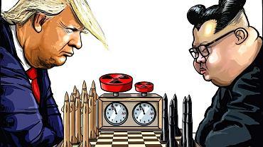 Spotkanie Trump-Kim według holenderskiego rysownika Rubena L. Oppenheimera