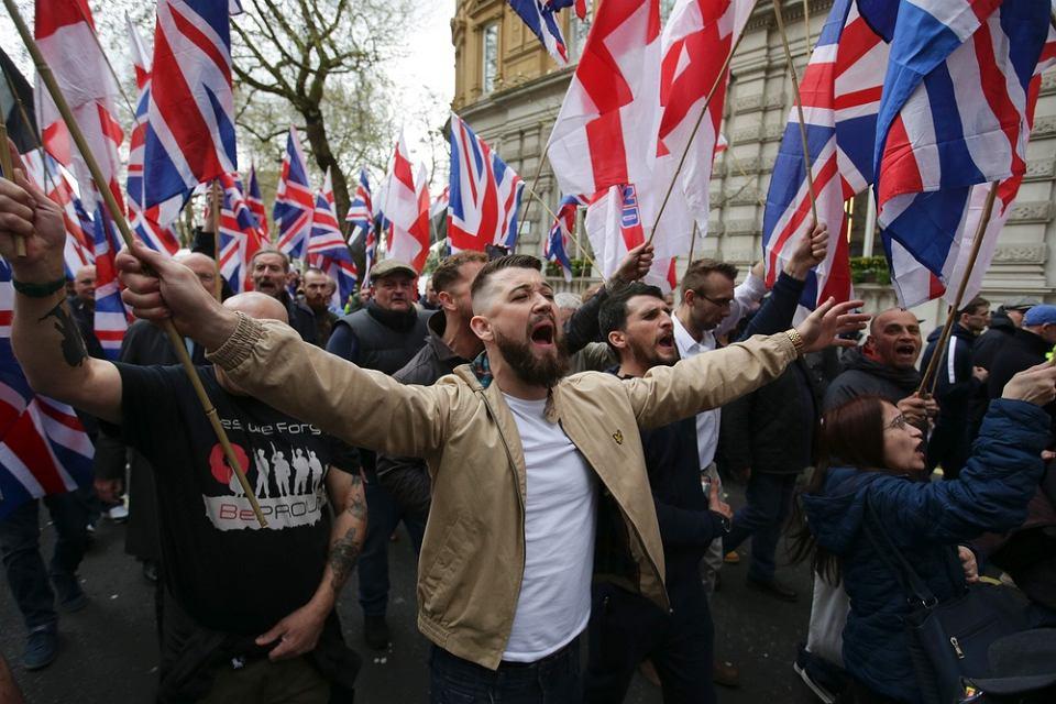 Demonstracja skrajnej prawicy ('Britain First') w Londynie, 1 kwietnia 2017.