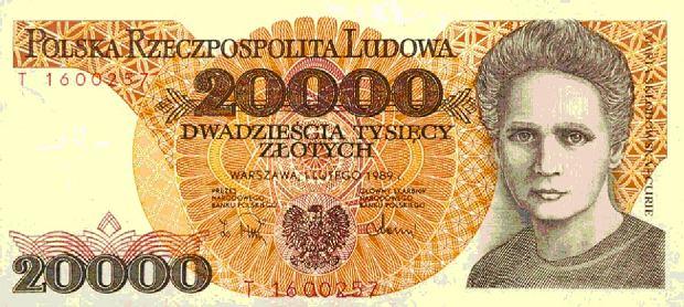 Banknot 20 000 zł, który był w obiegu od 1989 r. do 1994 r.