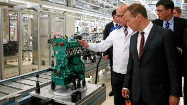 Wizyta Dmitrija Miedwiediewa w fabryce Volkswagen Group Rus