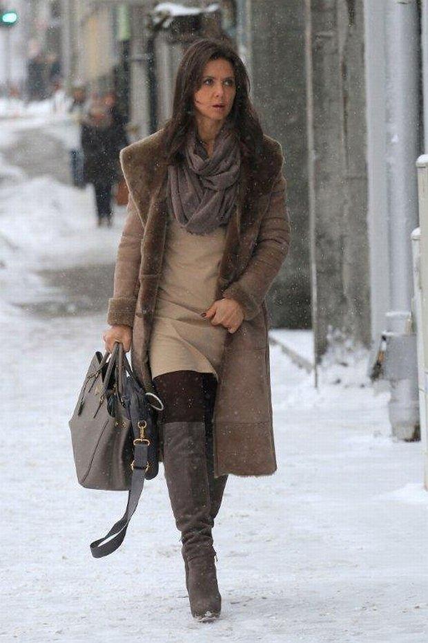 Kinga Rusin, zima, śnieg, ulica, kożuch