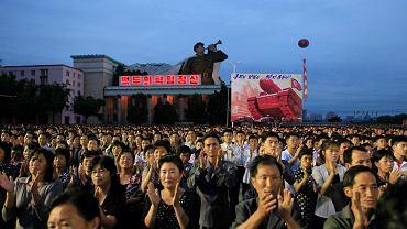 Wiec poparcia dla polityki Kim Dzong Una. Pjongjang, 6 września 2017 r.