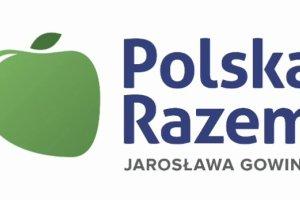 """Gowin pokazuje nazw� i logo partii - """"Polska Razem"""" i zielone jab�ko"""