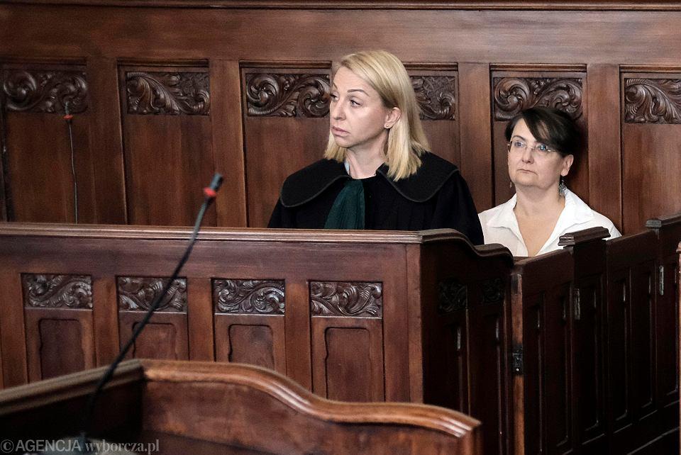 Joanna Jaśkowiak - żona prezydenta Poznania Jacka Jaśkowiaka - podczas rozprawy w sprawie użycia słów obraźliwych ('Jestem wkurwiona') na manifestacji 8 marca 2017