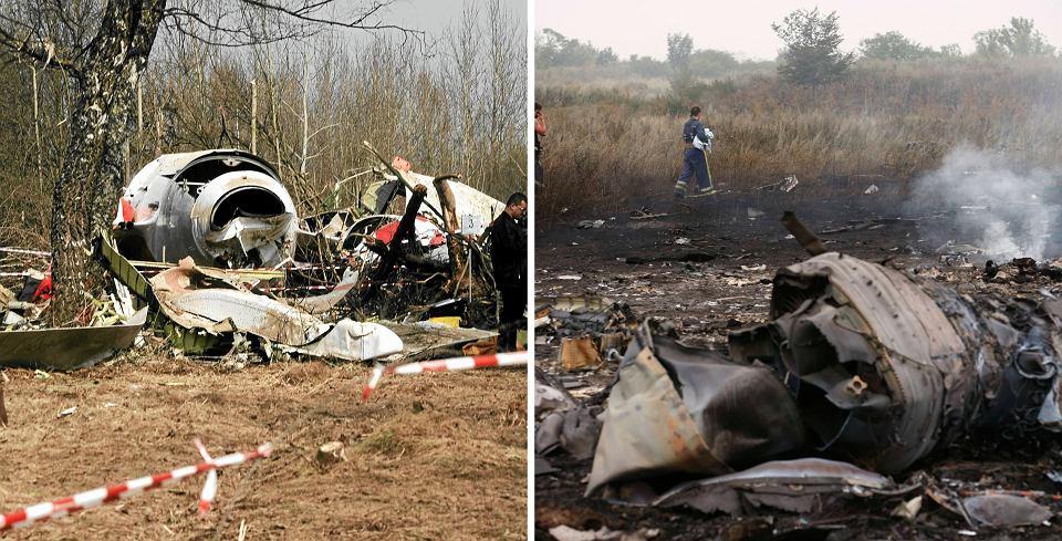 Szczątki samolotów Tu-154 oraz boeing 777