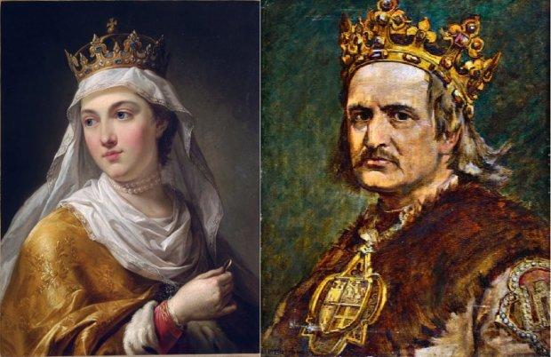 Jadwiga Andegaweńska (1373 lub 1374 - 1399) - jedyna kobieta, która została królem Polski. Jagiełło (1362 lub 1352 - 1434), władca Litwy, przyjął na chrzcie imię Władysław. Panował w Polsce od 1386 do 1434 r., czyli 48 lat. Po śmierci Jadwigi żenił się jeszcze trzykrotnie i dopiero z ostatnią żoną Zofią Holszańską doczekał się następców - Władysława III zwanego Warneńczykiem oraz Kazimierza Jagiellończyka (drugi w kolejności syn Kazimierz zmarł po urodzeniu). Jadwiga pędzla Marcella Bacciarellego, nadwornego malarza Stanisława Augusta Poniatowskiego, oraz Władysław Jagiełło, tak jak go sobie wyobraził Jan Matejko.