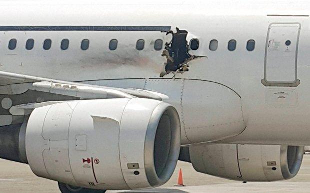 Dziura w kad�ubie airbusa powsta�a w wyniku eksplozji