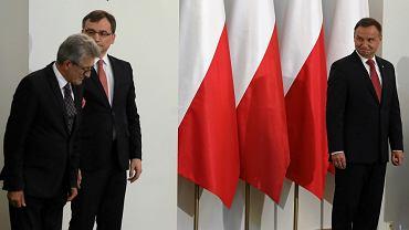 Poseł PiS Stanisław Piotrowicz, prezydent Andrzej Duda i minister sprawiedliwości (a zarwazem prokurator generalny) Zbigniew Ziobro