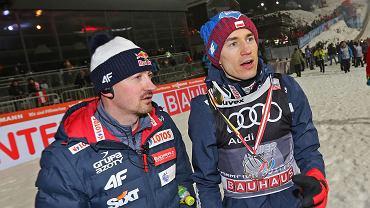 6.01.2018, Bischofshofen, Adam Małysz i Kamil Stoch po ostatnim konkursie 66. Turnieju Czterech Skoczni.