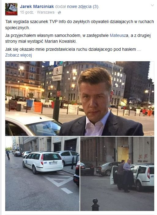 Marian Kowalski zawieziony do Warszawy służbowym autem TVP Lublin