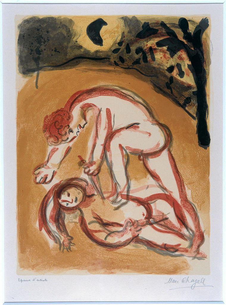 Litografia Marca Chagalla 'Kain i Abel' ze zbiorów   Muzeum Chagalla w Nicei. Wystawa 'Krew łączy i dzieli' w Muzeum Polin  / GÉRARD BLOT