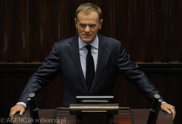 Premier Tusk przedstawia w Sejmie informację ws. Amber Gold