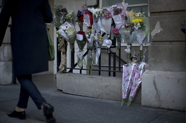 Floral tributes in memory of nurse Jacintha Saldanha are seen outside ...
