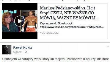 Paweł Kukiz zamieścił dwa wpisy na obu swoich profilach - prywatnym i poselskim. Pierwszy - górny - wykasował.