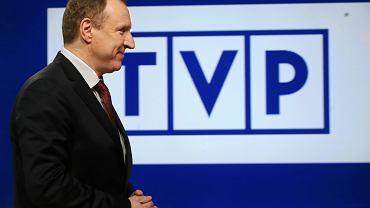Jacek Kurski na konferencji podsumowującej pierwszy kwartał 2016 r. w TVP
