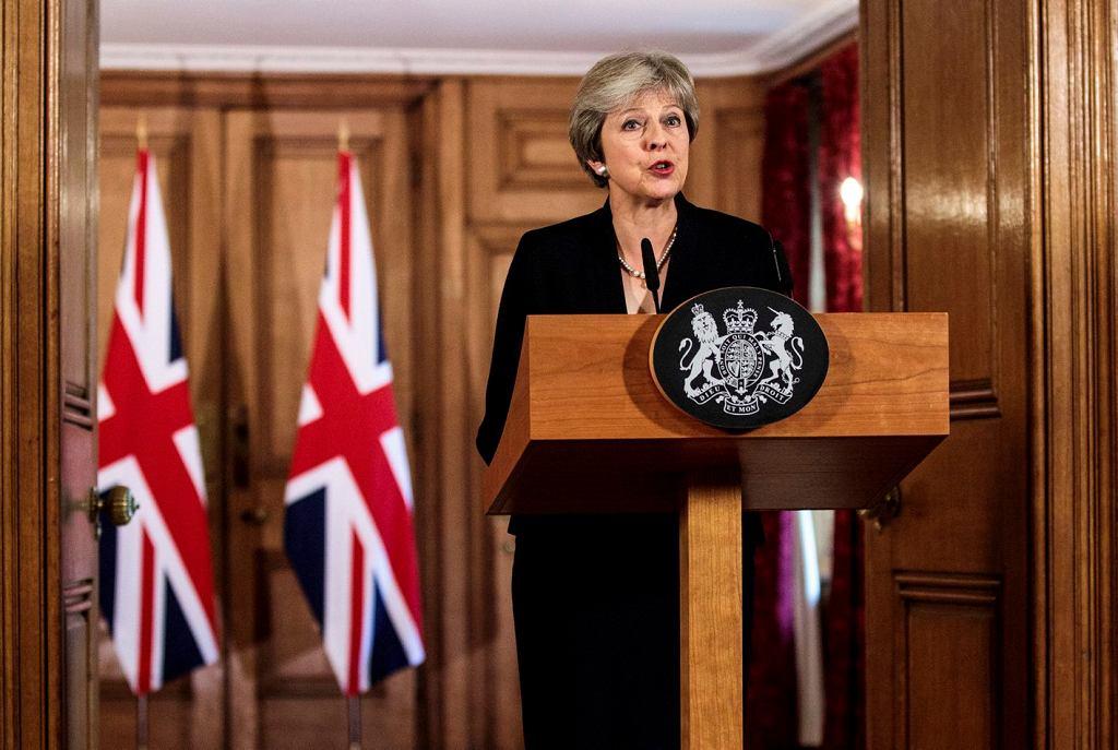 Premier Theresa May podczas wystąpienia na temat brexitu w siedzibie brytyjskiego rządu przy Downing Street 10. Londyn, 21 sierpnia 2018 r.