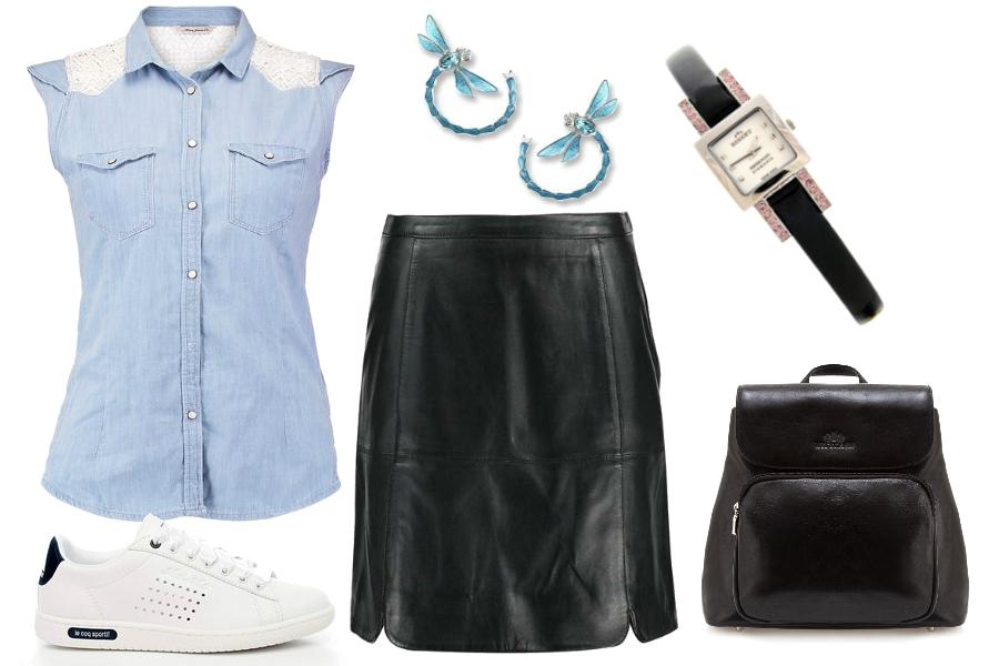 Skórzana spódnica i koszula jeansowa / mat. partnera