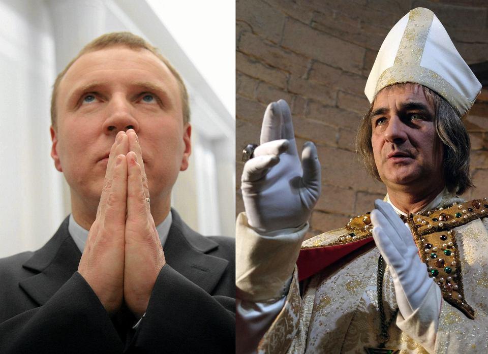 Jacek Kurski, prezes TVP, oraz Robert Gonera w roli bp Jana Grota w serialu 'Korona królów'