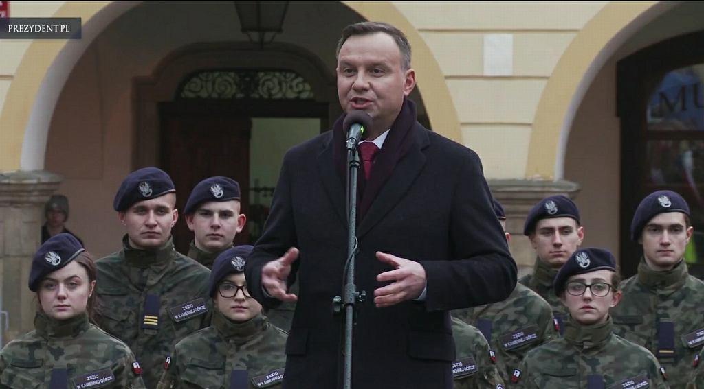 Andrzej Duda w Kamiennej Górze. Zdaniem części komentatorów, porównał UE do zaborców