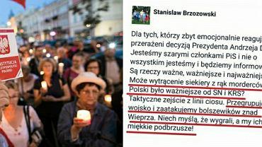 Protestujący ws. wolnych sądów/wpis radnego PiS
