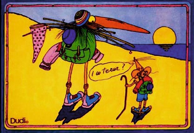 Pocztówka z Dudim (Szpilki, 1977) z serii wydanej ju� po wyje�dzie artysty do USA. Teksty w dymkach z abstrakcyjnych przesz�y w zakamuflowane �arty z gierkowskiej rzeczywisto�ci PRL-u.