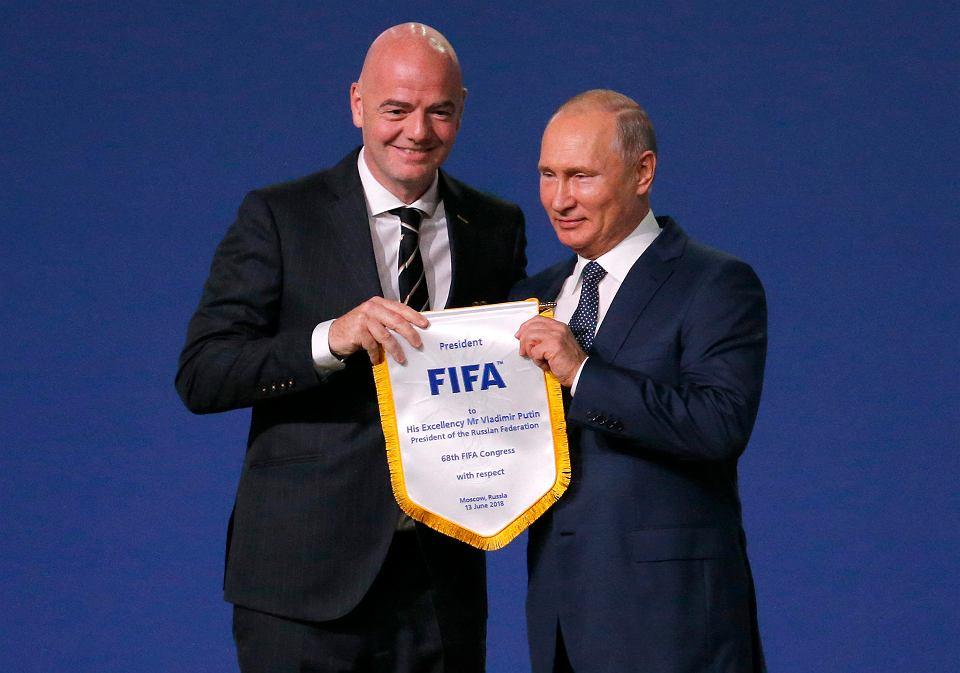 Szef FIFA Gianni Infantino i prezydent Rosji Władimir Putin