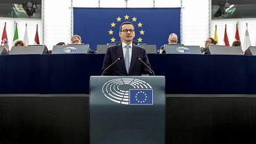 4.07.2018, premier Mateusz Morawiecki przemawia w Parlamencie Europejskim w Strasburgu.
