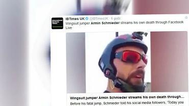 """Tragiczny wypadek w Alpach. W�och transmitowa� sw�j �miertelny skok na Facebooku. """"Dzisiaj polecicie ze mn�..."""""""