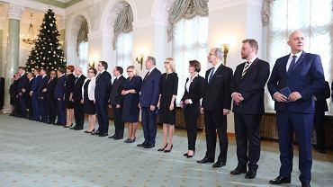 Rekonstrukcja rządu PiS. Uroczysta desygnacja nowych ministrów. Warszawa, Pałac Prezydencki, 9 stycznia 2018