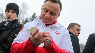 Prezydent RP Andrzej Duda podczas ceremonii rozdania nagród Memoriału im. Marii Kaczyńskiej. Rabka Zdrój, 12 lutego 2018
