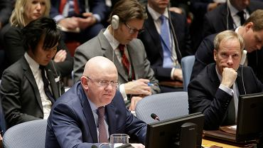 Ambasador Rosji Wasilij Niebienzia podczas posiedzenia Rady Bezpieczeństwa ONZ, 9.04.2018
