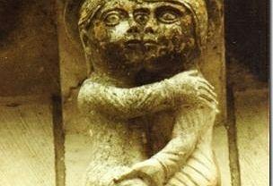 Kobieta sprawdzająca twardość członka mężczyzny - wspornik z kościoła św. Mikołaja w Maillezais we Francji, XII w.