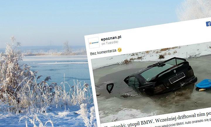 Kamionki koło Poznania: BMW wylądowało pod wodą