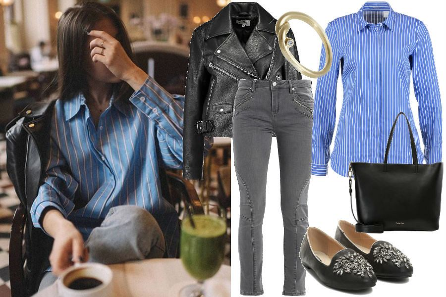 Stylizacja błękitna koszula