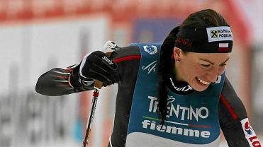 Justyna Kowalczyk na mecie wyścigu na Alpe Cermis w 2014 roku