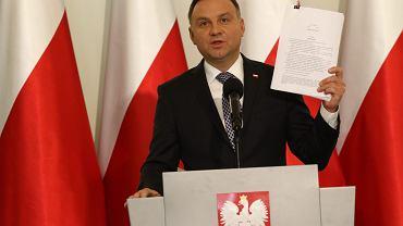 Prezydent Andrzej Duda podczas oświadczenia ws. reformy sądownictwa